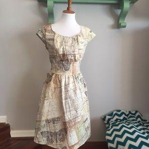 •nwt• modcloth's retrolicious moth print dress